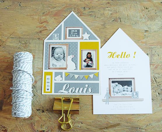 Faire-part de naissance Homebaby | maison scandinave couleurs pastels bleu jaune | Pastilles et Petits Pois