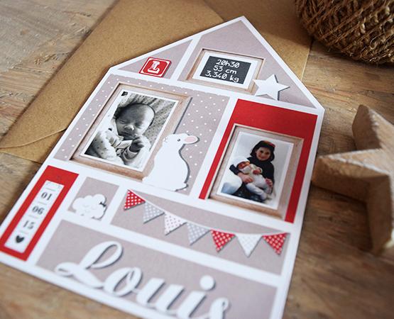 Faire-part de naissance Homebaby | maison scandinave gris rouge | Pastilles et Petits Pois