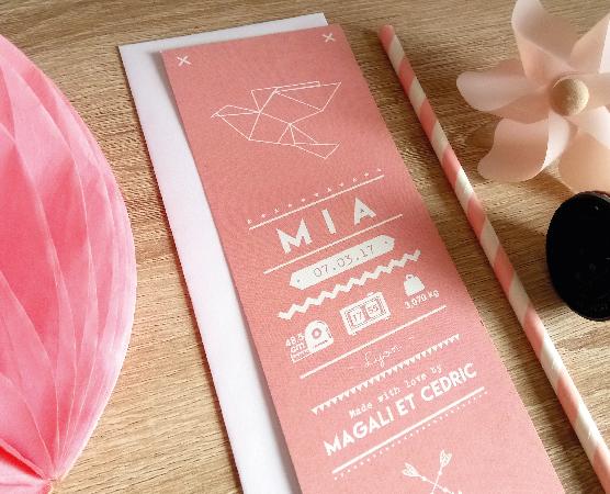 faire part naissance marque page design original renard ananas mixte fille et garcon
