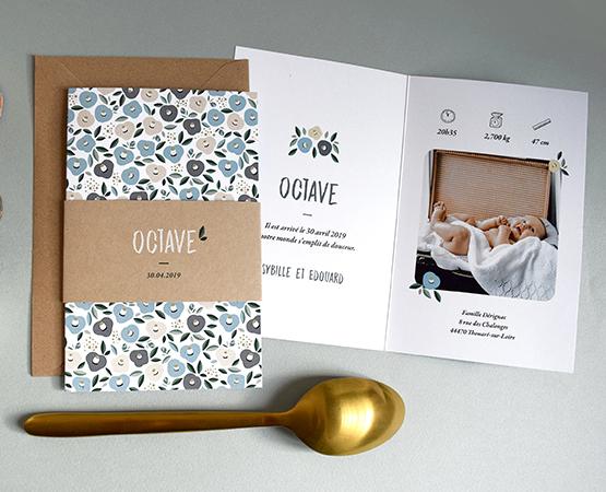 faire part naissance nantes fleurs liberty et bandeau kraft - format original - papier recyclé écologique - faire part garcon