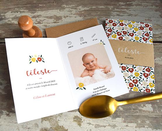 faire part naissance nantes fleurs liberty et bandeau kraft - format original - papier recyclé écologique- faire part fille