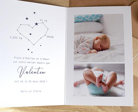 Faire-part de naissance Douce nuit | bleu nuit papier kraft et encre blanche | Pastilles et Petits Pois