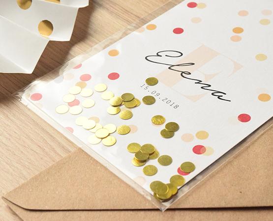 faire part naissance original pochette avec confetti or ou argent