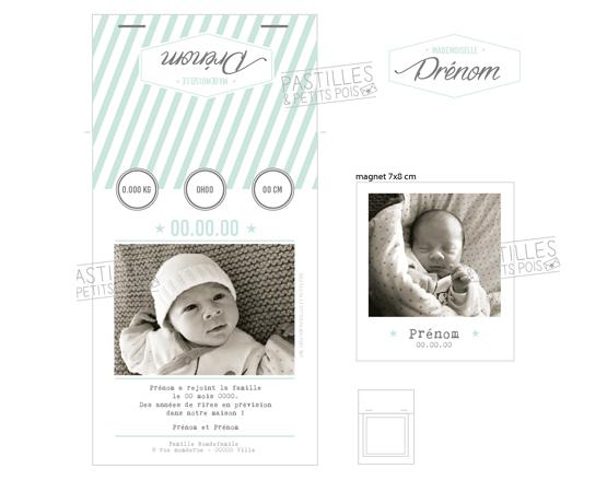 Faire-part de naissance Polamagnet | polaraoïd motif vintage mixte | Pastilles et Petits Pois