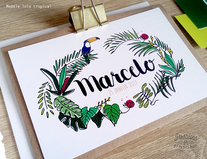 faire part thème tropical