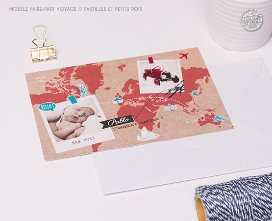 faire part naissance original voyage fond krfat photo polaroid timbre avion carte monde