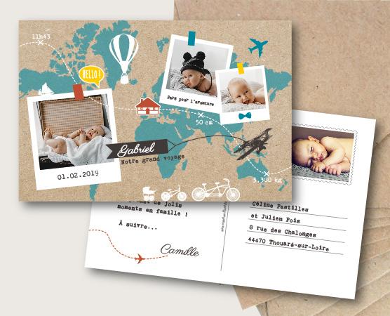 faire part naissance thème voyage carte du monde mappemonde kraft avion et mongolfière mixte papier recyclé