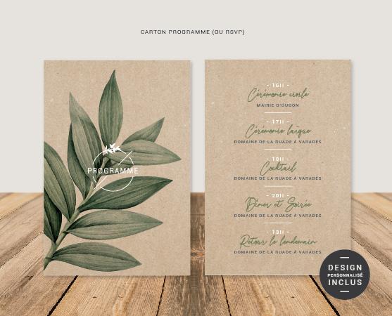 faire part mariage nude chic moderne et épuré avec kraft, végétal et papier de qualité