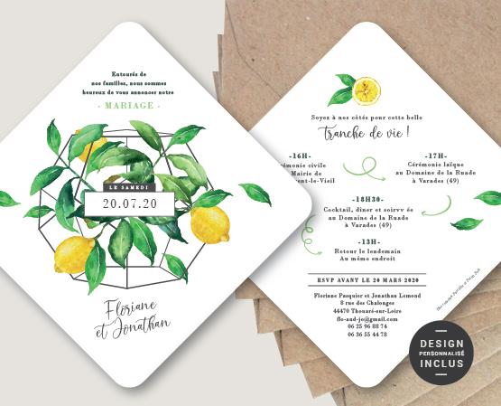 faire part mariage thème citrons plantes vertes et aromatiques fleurs
