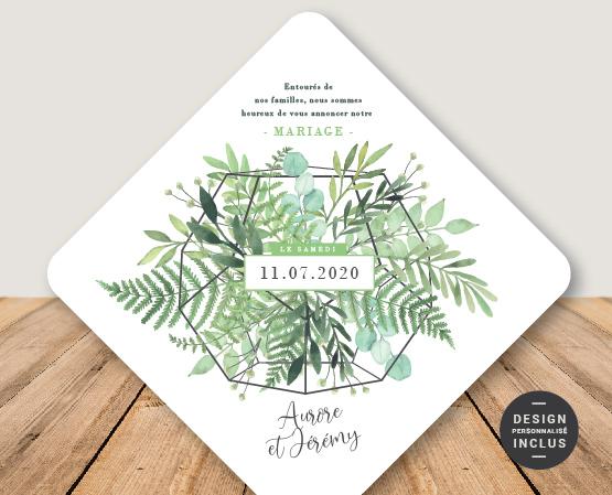 faire part mariage thème végétaux et plantes aromatiques
