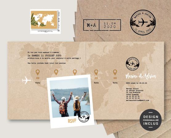 faire-part part mariage thème voyage original kraft et carte du monde