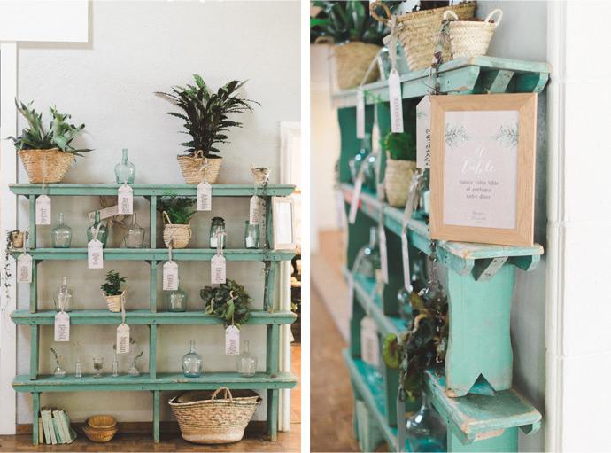 plan de tables mariage champetre et vintage végétal
