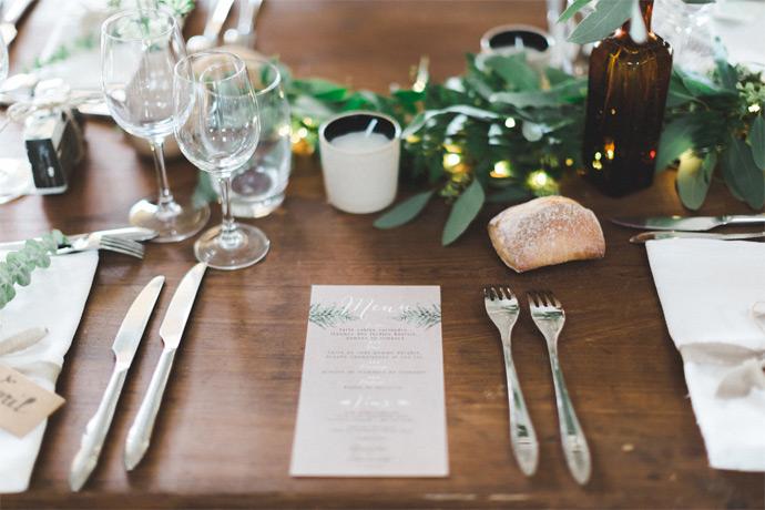 mariage végétal fougeres impression menus kraft et blanc