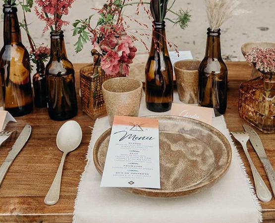 menu de mariage bohème