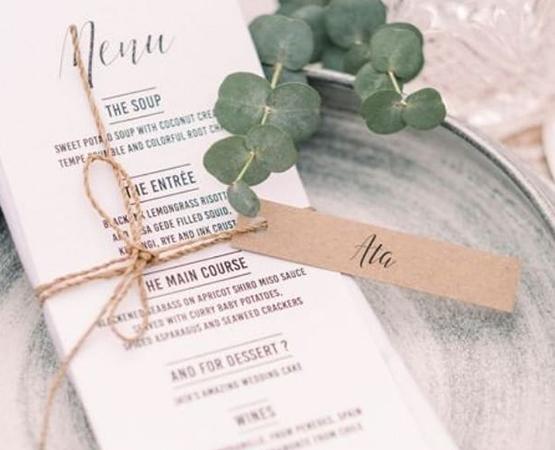 menu de mariage chic calligraphie