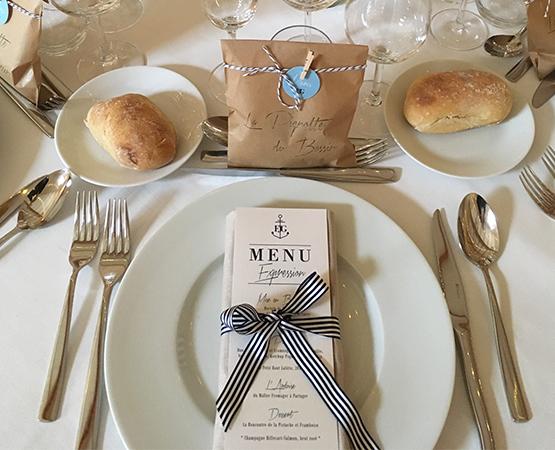 menu de mariage chic marin