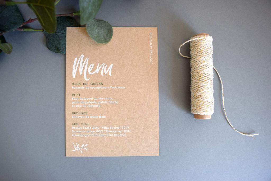 faire-par tet menu mariage papier kraft impression de qualité