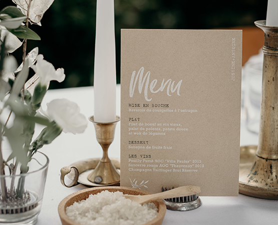 menu de table kraft et blanc
