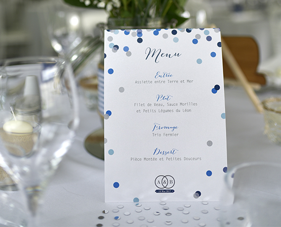 menu de table pois et confetti