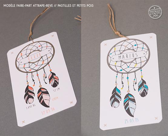 Faire-part de naissance Attrape-rêves | bohème mixte plumes indien merci | Pastilles et Petits Pois