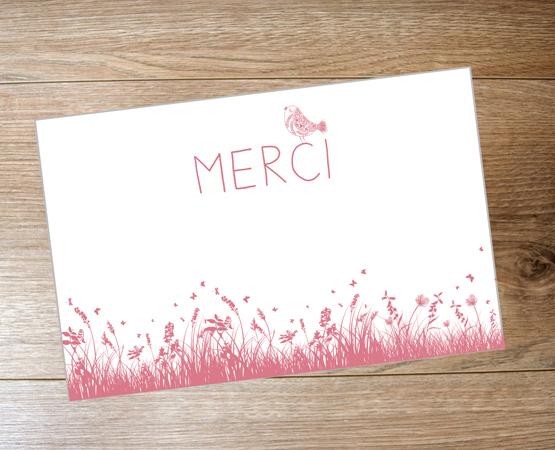 Remerciement naissance Carte Minimerci | faire-part Birdy | Pastilles et Petits Pois