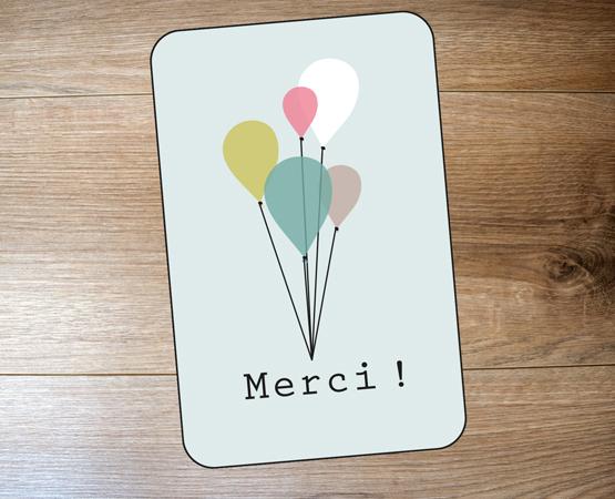 Remerciement naissance Carte Minimerci par Pastilles et Petits Pois