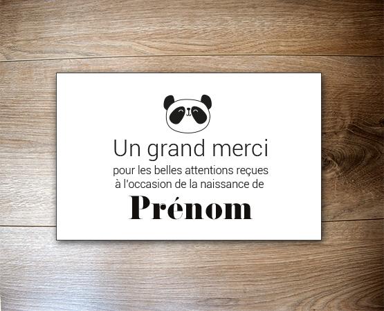 carte merci faire part naissance petit panda