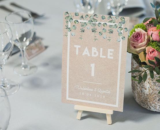 Pastilles et Petits Pois nom de table mariage