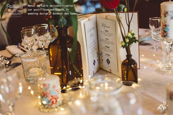 centre de table et menu mariage