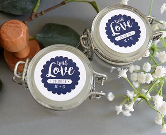 etiquette cadeau invités mariage bonbonniere verre