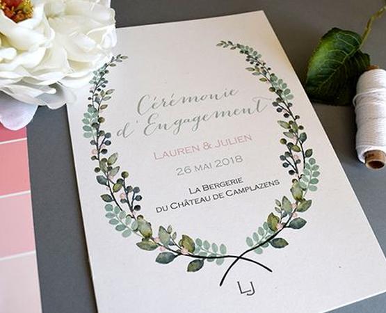 livret de ceremonie mariage theme vegetal
