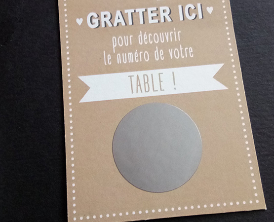 option pastille a gratter or ou argent sur faire part ou escort cards