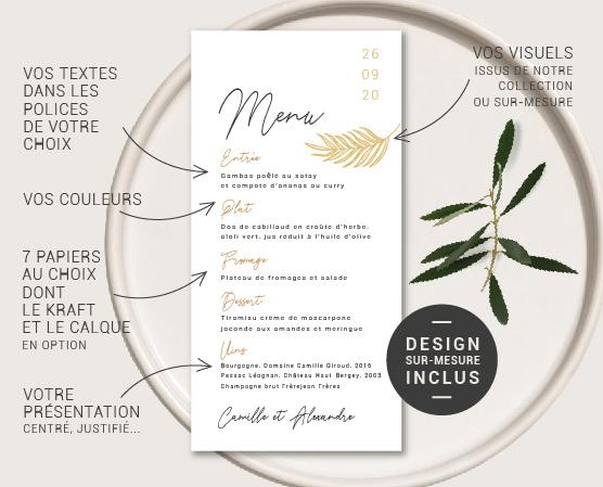 maquette personnalisée menu de mariage