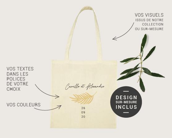 tote bag sac en coton blanc naturel personnalisable mariage