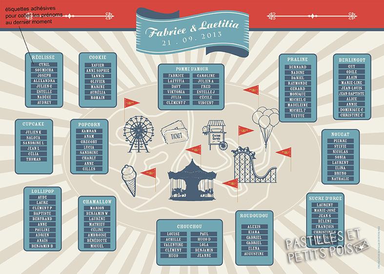 plan de table thème fête foraine guinguette champêtre