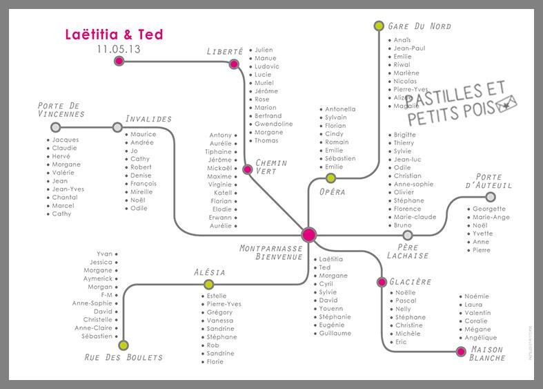 plan de table grand impression mariage thème métro paris voyage
