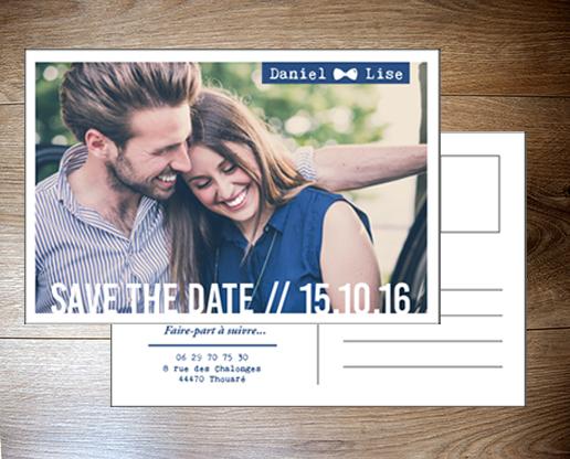 Save the date carte postale par Pastilles et Petits Pois