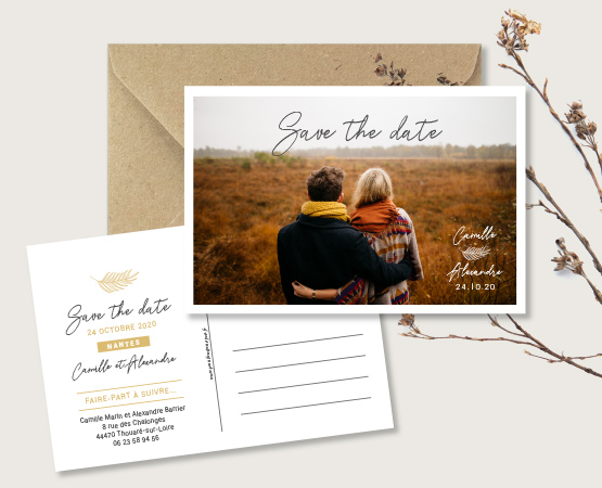 save the date mariage carte postale