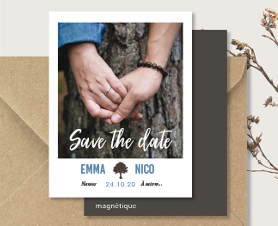 save the date mariage magnet polaroid arbre champetre