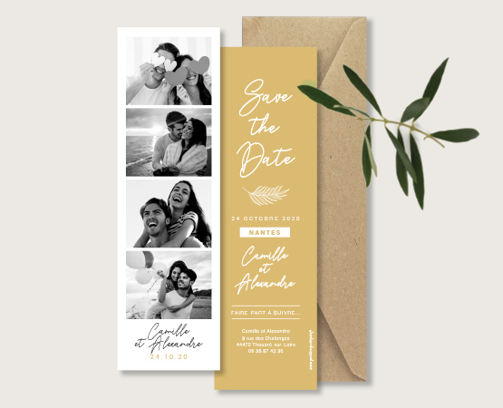 save the date mariage marque page rose corail