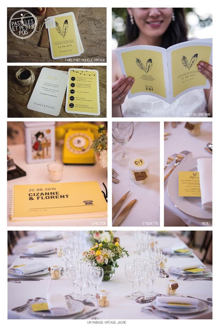 papeterie mariage vintage jaune
